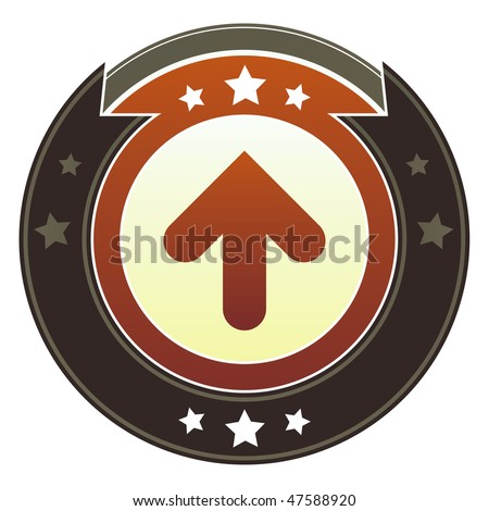 Up directional arrow icon on round red and brown imperial vector button with star accents suitable for use on website, in print and promotional materials, and for advertising. - stock vector