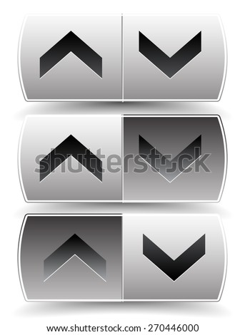 Up down arrow buttons with pressed, pushed versions. For vertical alignment, increase, decrease, scroll concepts. - stock vector