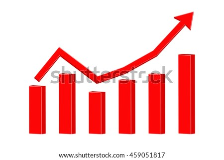 Up rising red arrow. Statistic graphic. Vector illustration isolated on white background