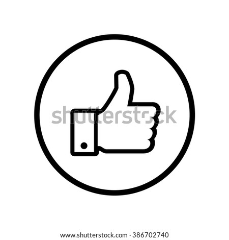 Up vote icon in circle . Vector illustration