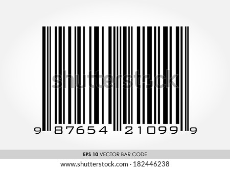 UPC barcode with 12 digits on white background - stock vector