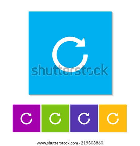 Update icon in flat style. Refresh symbol. Orange, purple, magenta, violet, yellow, green and blue color buttons - stock vector