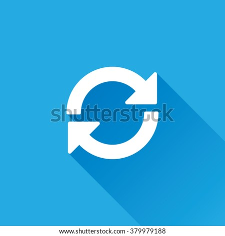 Update or Refresh Icon With Long Shadow - stock vector