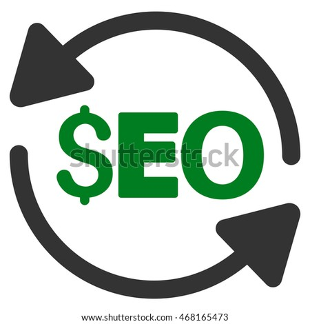 Update Seo icon. Vector style is bicolor flat iconic symbol with rounded angles, green and gray colors, white background.