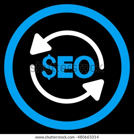 Update Seo rounded icon. Vector illustration style is flat iconic bicolor symbol, blue and white colors, black background.