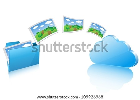 upload documents to cloud - stock vector