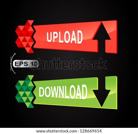 Upload Download banner button set  - stock vector