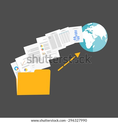 Upload files to internet illustration. - stock vector