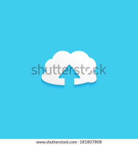 upload, flat icon isolated on a blue background for your design, vector illustration - stock vector