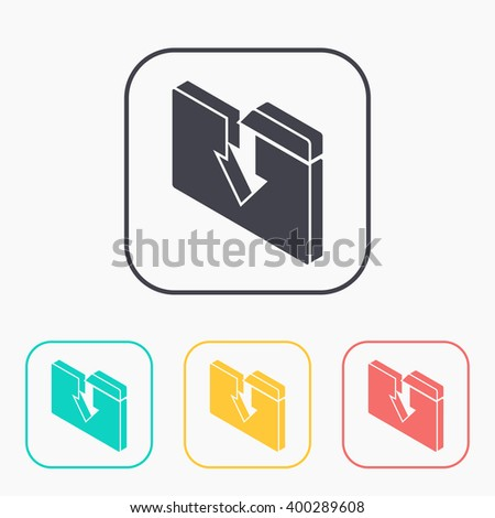 upload folder isometric 3d color icon set  - stock vector