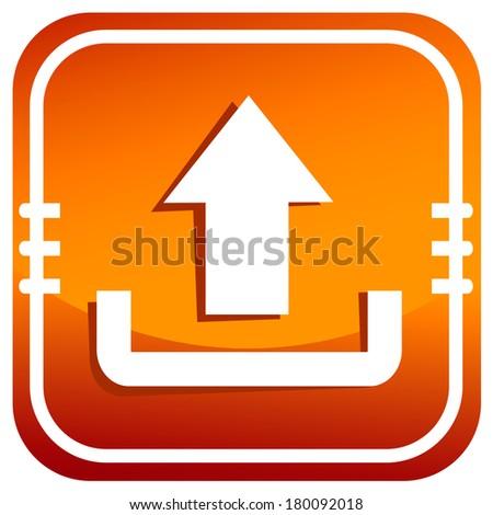 Upload icon orange - stock vector