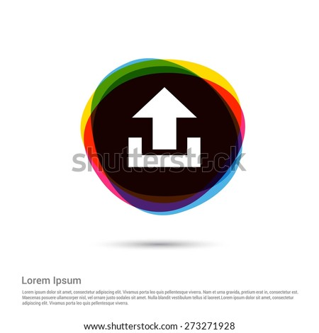 Upload icon, White pictogram icon creative circle Multicolor background. Vector illustration. Flat icon design style - stock vector