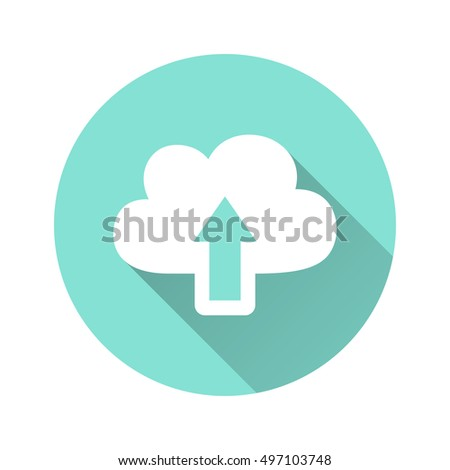 Upload vector icon with long shadow. White illustration isolated for graphic and web design.
