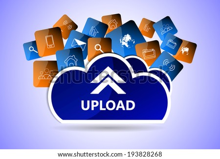 Upload vector web button, icons - stock vector