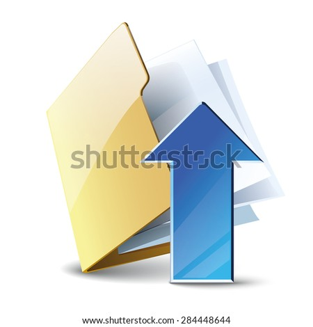 Uploading vector icon, folder with blue arrow isolated on white background
