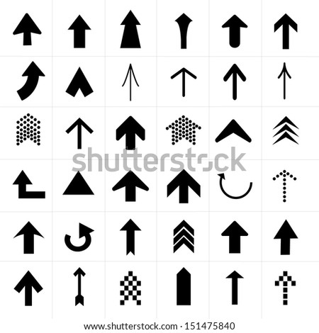 Upper Arrow Icons set - stock vector