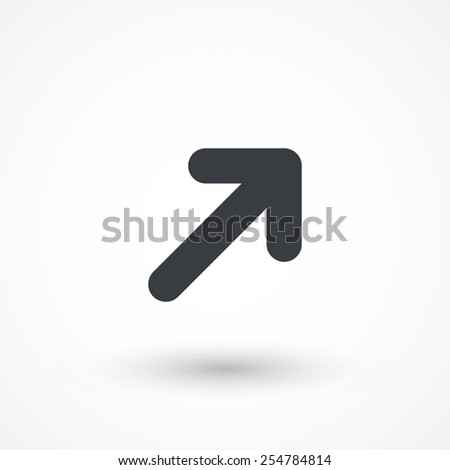 Upper right arrow icon. Flat style design - stock vector