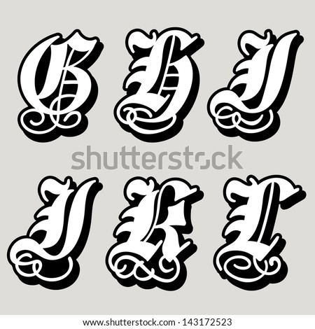 Uppercase Gothic alphabet letters g, h, i, j, k, l in a bold black doodle with ornamental swirls and flourishes, vector illustration isolated on white