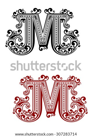 Uppercase letter M decorated with calligraphic swirl ornaments, flowing lines and dots for page decoration or monogram design - stock vector