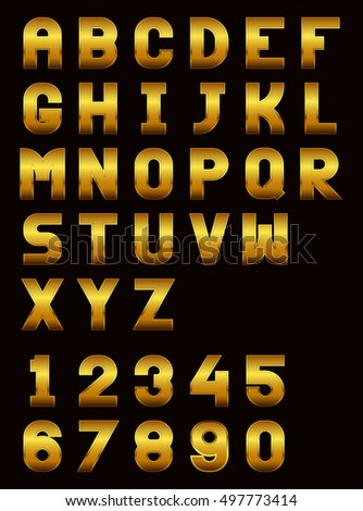Uppercase letters of the English alphabet and numbers with a gold effect
