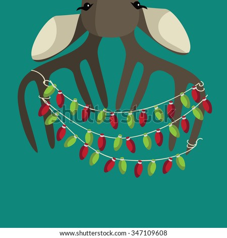 Upside down Christmas Reindeer wearing red scarf and festive lights. EPS 10 vector royalty free illustration. - stock vector