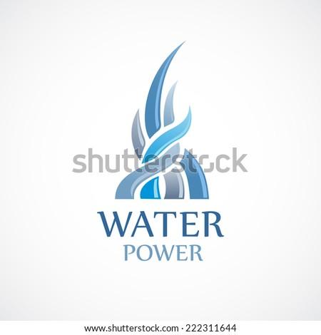 Upstream water flows logo template - stock vector