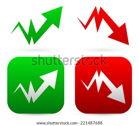 Upward, downward arrows - stock vector