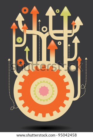 upwards cogs illustration eps vector - 4