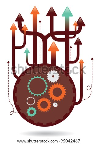upwards cogs illustration eps vector - 2