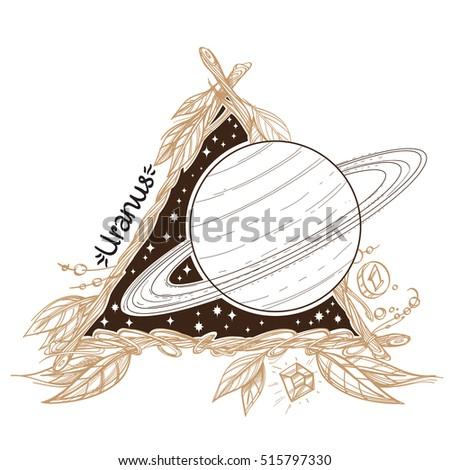 Uranus Planets Stars Solar System Symbols Stock Vector 515797330