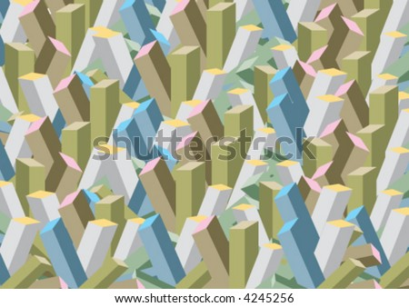 urban abstract 3D pink tipped blocks (vector) - illustrated background