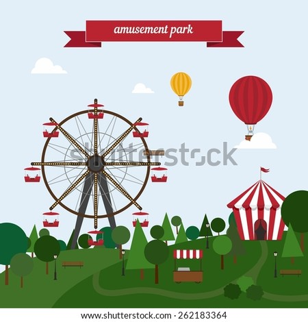 Urban amusement park ferris wheel circus tent roundabouts in the sky balloons . Flat style design - vector. - stock vector