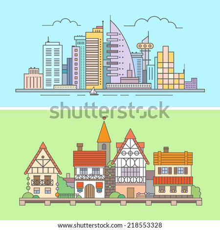 Urban and village landscape. Vector flat illustrations: skyscrapers, offices, buildings, blocks of flats, waterfront, wooden and brick houses, bushes, flowers, castle. - stock vector