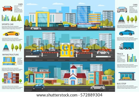 Urban auto traffic brochure with colorful cars on road parking modern buildings and trees vector illustration