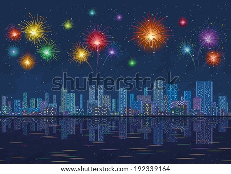 Urban background, night cityscape with skyscrapers and bright holiday fireworks in the starry sky reflecting in blue sea. Vector - stock vector
