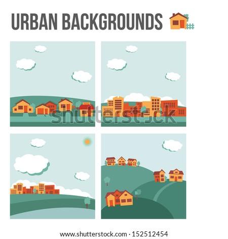 Urban background set - stock vector