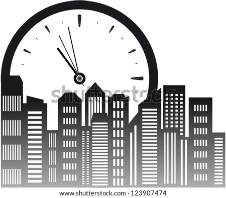 urban background with clock and skyscraper - stock vector
