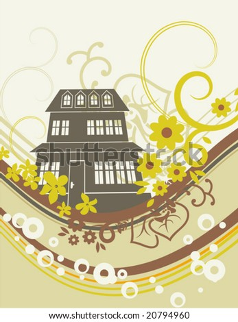 Urban background with floral and ornamental details. Vector illustration.