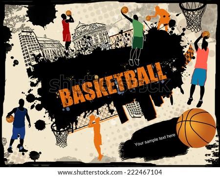Urban basketball grunge background, vector illustration - stock vector