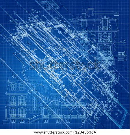 Urban Blueprint (vector). Architectural background. - stock vector
