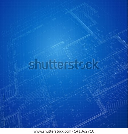 Urban Blueprint (vector). Architectural background - stock vector
