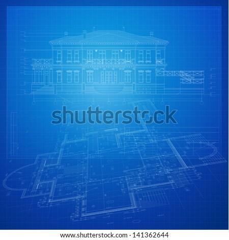 Urban Blueprint (vector). Architectural background. Part of architectural project, architectural plan, technical project, construction plan - stock vector