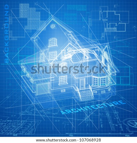 Urban Blueprint (vector). Architectural background with a building model - stock vector