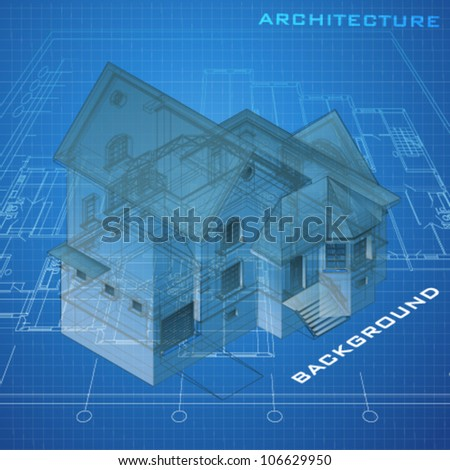 Urban Blueprint with a 3D building model (vector). Architectural background - stock vector