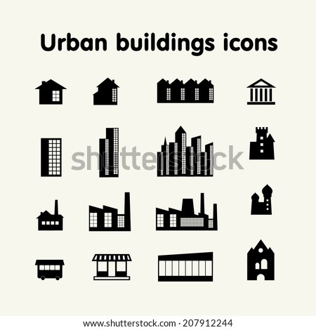 Urban buildings icons, housing, industry, commerce, attractions, religion - stock vector
