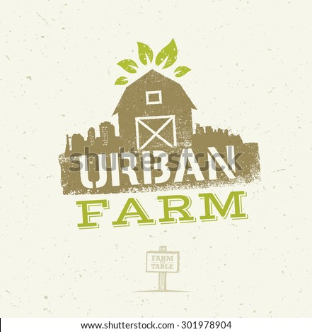 Urban City Farm Organic Eco Concept. Healthy Food Vector Design Element On Craft Paper Background - stock vector
