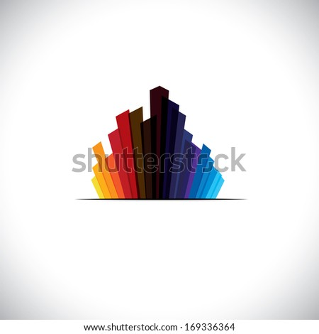 Urban city icon or skyscrapers of tall commercial buildings - vector graphic. The colorful illustration contains high rises & tall towers in colors like red, orange, black, blue, etc - stock vector