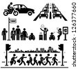 Urban City Life Metropolitan Hectic Street Traffic Busy Rush Hour People Man Stick Figure Pictogram Icon - stock vector