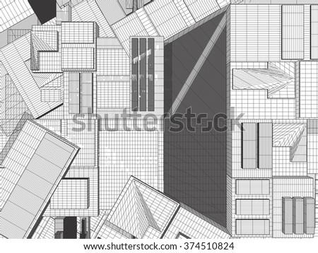 Urban City Of Skyscrapers Vector 327 - stock vector