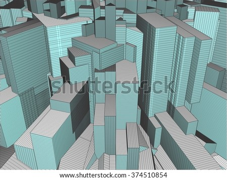 Urban City Of Skyscrapers Vector 321 - stock vector